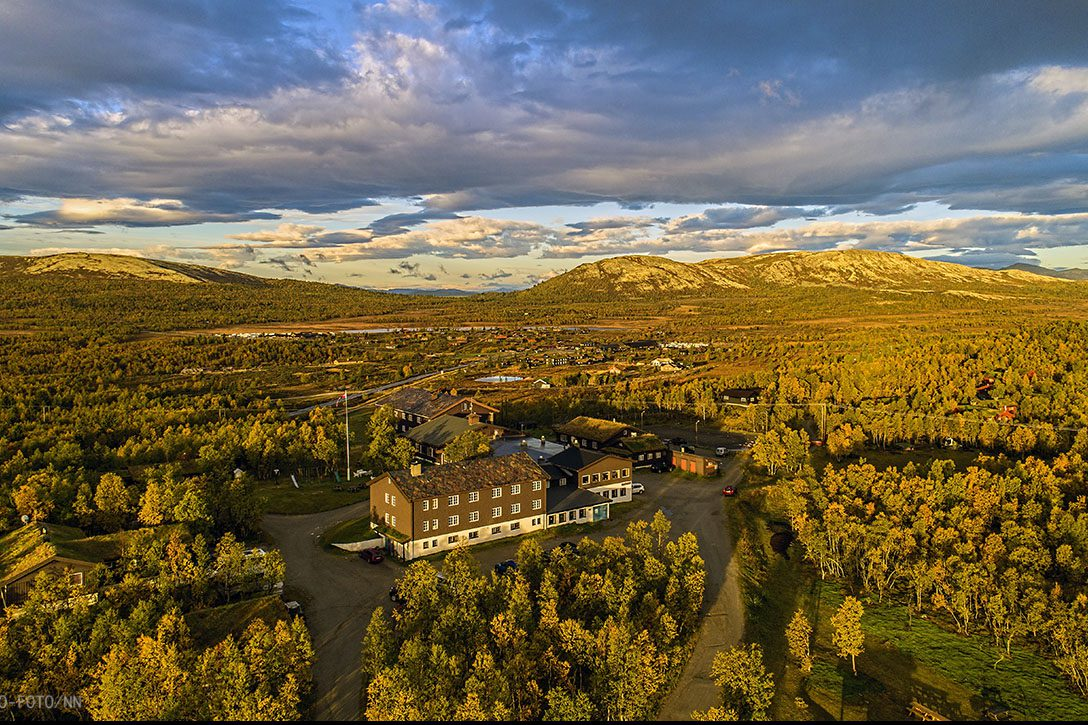 Venabu Fjellhotell from the air,in autumn